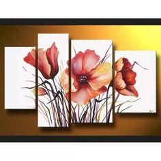 Cuadros Decorativos, Dipticos, Tripticos, Polipticos, Oferta - $ 1.400,00 3 Piece Canvas Art, Canvas Wall Art, Acrylic Art, Painting Inspiration, Flower Art, Watercolor Art, Modern Art, Art Projects, Artwork