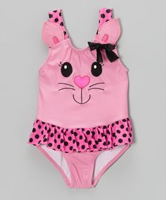Another great find on #zulily! Pink Kitty Skirted One-Piece - Infant, Toddler & Girls by Candlesticks #zulilyfinds