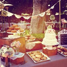 Cake and pie dessert bar, wedding desserts, wedding props, backdrops. I loved this cake and the whole dessert table. Follow us @SIGNATUREBRIDE on Twitter and on FACEBOOK @ SIGNATURE BRIDE MAGAZINE