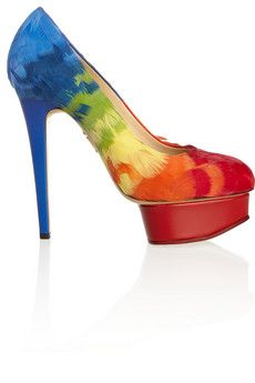 Charlotte Olympia Dolly feather-embellished satin pumps | THE OUTNET