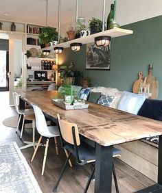 Could we do the table against a wall like this and have a living space too? Home sweet home Dining Room Design, Dining Room Table, Kitchen Design, Table Lamps, Dining Rooms, Dining Area, Sweet Home, Living Room Decor, Living Spaces