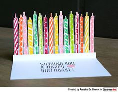Card by Anneke De Clerck using Darkroom Door Candles Eclectic Stamp Birthday Words, Word Block, Simple Sayings, Distress Markers, Birthday Sentiments, Shaker Cards, Ink Pads, Cool Cards, Colorful Backgrounds