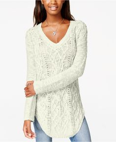 American Rag Mixed-Knit Pullover Tunic Sweater, Only at Macy's - Juniors Sweaters - Macy's