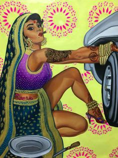 This Feminist Artist Paints Indian Women As Badass Pinup Models Indian Illustration, Car Illustration, Pin Up, Indian Art Paintings, Art And Craft, Feminist Art, Brown Girl, Illustrations, Indian Girls