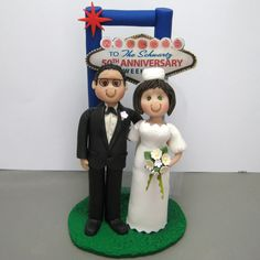 Reserved For Sarah Balance Due Custom Las Vegas Wedding Cake Topper With Dogs