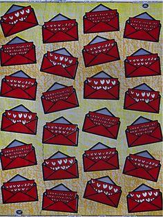Blockprint fabric by Vlisco for a Valentine's Day Dress? Singing Telegram Uniform?