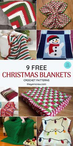 Christmas Crochet Blanket, Crochet Square Blanket, Crochet Christmas Gifts, Holiday Crochet, Free Christmas Crochet Patterns, Christmas Afghan, Christmas Crafts, Xmas, Baby Afghan Crochet Patterns