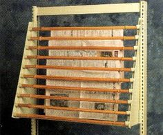 Vintage Wood Library Newspaper Rack Holder Dowels