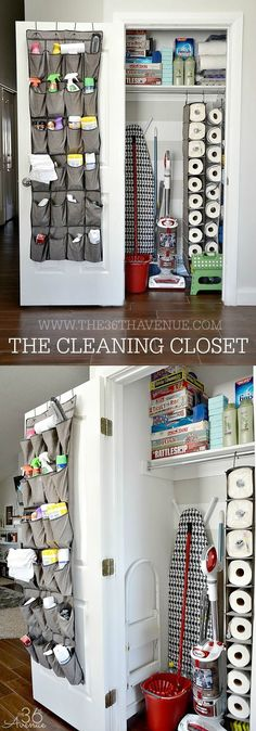 Cleaning Tips - A closet just for cleaning! Great organization and cleaning tips.