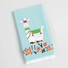 Blue Embroidered Llama Kitchen Towel
