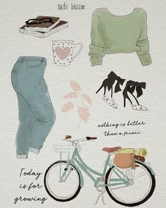 picnic bicycle moodboardnashi blossom art (@nashiblossomart) • Instagram photos and videos Zooey Deschanel, Picnic, Photo And Video, Drawings, Illustration, Bicycle, Image, Instagram, Videos