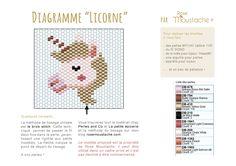 """Diagramme de la """"licorne"""" en Miyuki, tissage en brick stitch - Rose Moustache"""