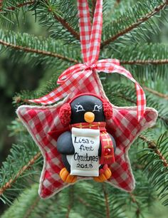 Personalized baby's first Christmas penguin by PerlillaPets