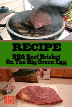 BBQ Beef Brisket On The Big Green Egg With Burnt Ends Smoker Cooking smoker recipes on big green egg Grilled Brisket, Beef Brisket Recipes, Bbq Brisket, Smoked Beef Brisket, Bbq Beef, Bbq Grill, Smoker Recipes, Game Recipes, Smoked Ribs