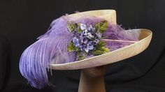 A Whimsical Hat in Pearl Gray and Lavender by HatTrix on Etsy Hat For The Races, Rain Hat, Church Hats, Pearl Grey, Red Hats, Hat Sizes, Basic Colors, Shades Of Blue, Flowers
