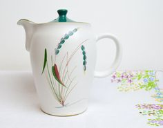 1950s stoneware handpainted coffee pot in by tillyandarthur