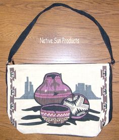 Bold Southwest Navajo style pottery on a large flat bottomed purse.  Classic southwest. Zips closed. Just 21.95 w/ free shipping within the USA #purse #handbag #pottery #southwest