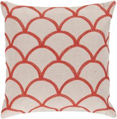 Organic Scales Accent Pillow in Orange-Red & Creme | Luxurythrowpillows.com | CLICK HERE for more information | From $98 +