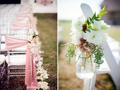 Top 5 Ways to Decorate Your Wedding Aisle - Festoon Your Chairs: If you want to keep your aisle clear, decorating chairs is another way to add structured style to your ceremony. Tie sashes along the back of your chairs and embellish them with flowers or crystal accents. Fill mason jars with colorful bouquets, or use petal cones to accent the sides of your chairs. Photo left from Elegant Wedding Invites; photo right from United with Love // Martha Locklear.