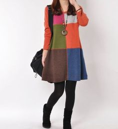 Orange cotton dress Long sleeve dress cotton by originalstyleshop, $58.90