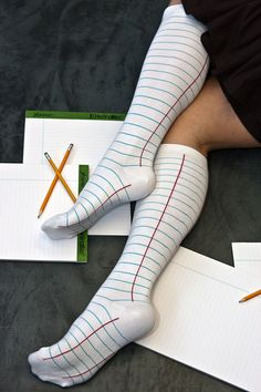 Ashi Dashi Notebook Knee Highs  these have a rather subtle theme that could easily be overlooked but still so fun, also why not do one paper sock & one pencil sock, super nerdy fun