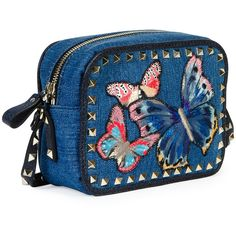 Valentino Rockstud Denim Butterfly Camera Bag (120.280 RUB) ❤ liked on Polyvore featuring accessories, tech accessories and camera bag