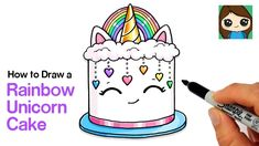 This cake has everything I love! 😊 Learn How to Draw a cute Rainbow Unicorn Cake with Hearts raining down easy, step by step drawing lesson tutorial. Vintage Cake Toppers, Wedding Cake Toppers, Snowflake Wedding Cake, Honey Container, Mad Hatter Cake, Cute Rainbow Unicorn, Cake Drawing, Unicorn Drawing