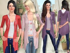 sims2fanbg's 398 - Long sweatshirt with top and jeans