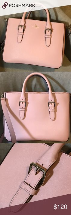 "Kate Spade Cove Street Goldie Kate Spade structured satchel Cove Street Goldie in the soft blush color called Pink Granite. Gold tone hardware; Saffiano leather; detachable flat shoulder strap (non adjustable); dual role top handles, 3 pockets (1 zip closure and open top);             Shoulder strap drop 20.5"", handle drop 4"", height 10"", width 13"", depth 4.25""; great condition! NO trades, NO low balling, only selling through PM. Thanks for looking! kate spade Bags Satchels"