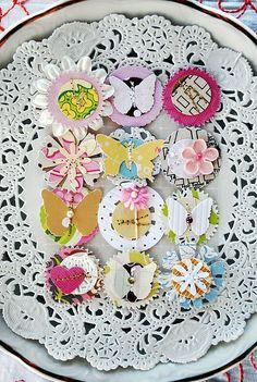pastel #butterflies and #flowers : Tara Anderson #embellish #embellishments #cardmaking #scrapbook