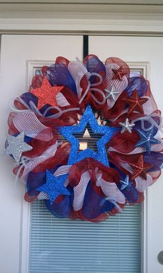 Patriotic Mesh Deco Wreath by SouthernWreathDesign on Etsy, $75.00