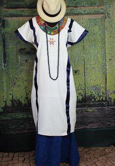 Hand Woven & Embroidered Pinotepa Huipil, Oaxaca Mexico, Frida Santa Fe Style  #Handmade #MexicanDress
