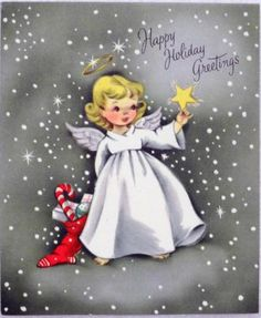 #869 50s Volland Angel in the Stars-Vintage Christmas Greeting Card