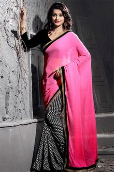 Ravishing Hot Pink, Black Chiffon Printed Saree with Lace Border