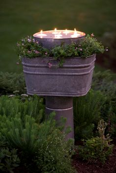 {Galvanized bucket & floating candles}