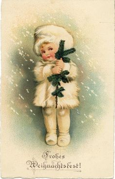 Fabric Block Frohes Weihnachtsfest Merry Christmas German Postcard on Fabric Vintage Christmas Images, Old Christmas, Old Fashioned Christmas, Victorian Christmas, Retro Christmas, Vintage Holiday, Christmas Pictures, Christmas Greetings, Christmas Crafts