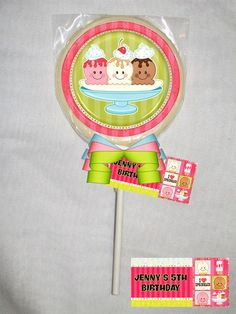 Ice Cream Sprinkles Personalized Chocolate Lollipop or Cookie Favor