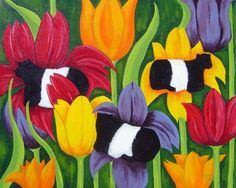 Cow Art tulips Belted galloways belties leaves by RisingStarArt, $30.00