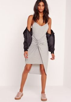 Twist Detail Strappy Midi Dress Grey