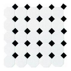 / sq ft - Daltile Matte White with Black Dot 12 in. x 12 in. x 13 mm Ceramic Octagon/Dot Mosaic Wall Tile sq. / - The Home Depot Mosaic Tile Sheets, Ceramic Mosaic Tile, Mosaic Wall Tiles, Bathroom Floor Tiles, Glazed Ceramic, Pebble Tiles, Hex Tile, Kitchen Tile, Shower Floor