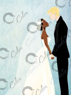 Interracial wedding couple, with illustration by Cards in Color lead artist Isaiah Stephens, $4.99 at www.CardsinColor.com, FREE SHIPPING.