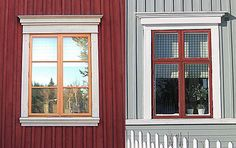 Fönsterfoder House Siding, House Paint Exterior, Red Houses, Little Houses, House By The Sea, Swedish House, Home Upgrades, House Built, Scandinavian Home