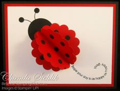 Ladybug card...adorable use of a scalloped circle - by One Crafty Mommy  --  http://www.onecraftymommy.com/2010/08/punch-lunch-beginner-class-monday.html