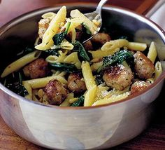 Instant meatballs with penne pasta - BBC Good Food Magazine Penne Pasta Recipes, Pasta Dishes, Dinner Recipes For Kids, Healthy Dinner Recipes, Dinner Ideas, Bbc Good Food Recipes, Cooking Recipes, Yummy Recipes, Yummy Food