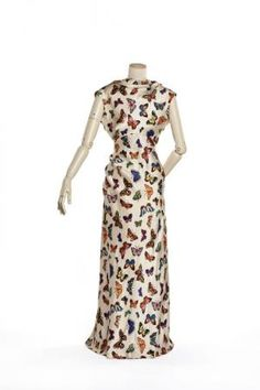Schiaparelli silk satin butterfly print evening dress 1937