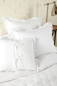 Vintage Washed Double Ruffle Edge Oversized Euro Sham - Pure White on HauteLook
