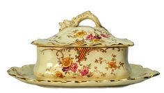 Ceramic Butter Dish andLid with Dolphin Handle by LavishShoestring