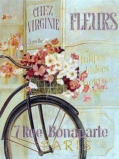 Otra de las imágenes que me encantan son las láminas con bicicletas vintage   Enlaces:  http://manualidades.facilisimo.com/foros/decoupage/l...
