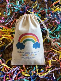 Personalized Rainbow Birthday Party Favor Bags - Set of 10 (Item First Birthday Favors, Rainbow Birthday Party, Muslin Bags, Kids Party Themes, Side Bags, Party Favor Bags, Popcorn, First Birthdays, Cord
