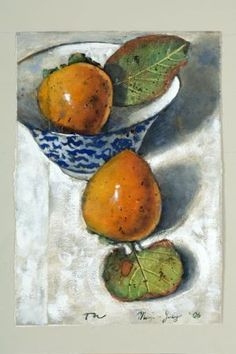 'Two Persimmons with Bowl' (2006) by New Zealand-born Australian painter Thornton Walker (b.1953). Watercolor & gouache, 28.5 x 20 cm. via Heiser Gallery